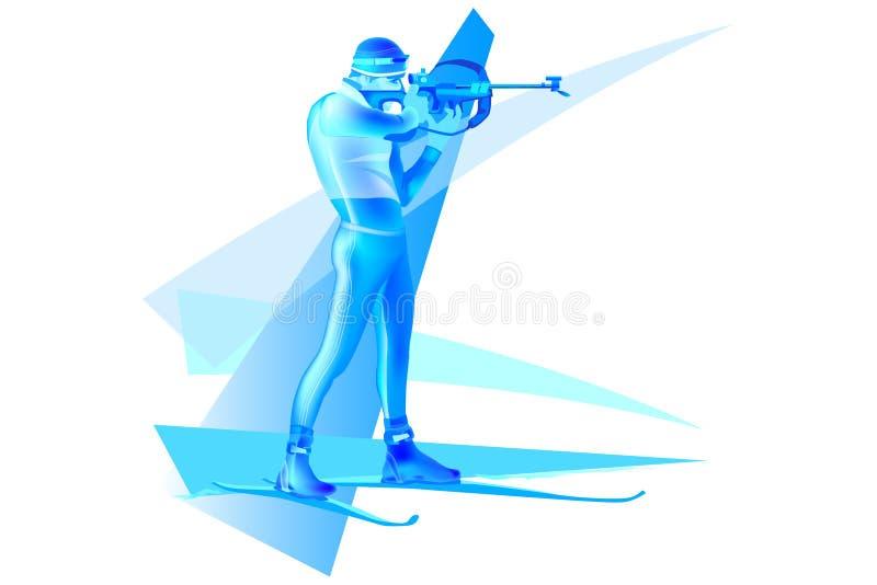 Fucilazione variopinta dell'uomo di biathlon nello scopo illustrazione vettoriale