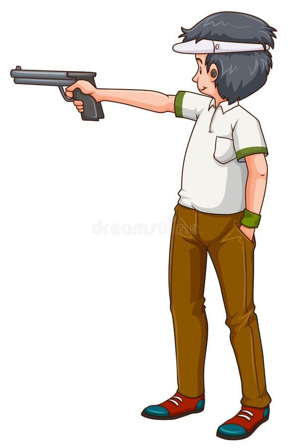 Fucile da caccia della fucilazione dell'atleta dell'uomo illustrazione di stock