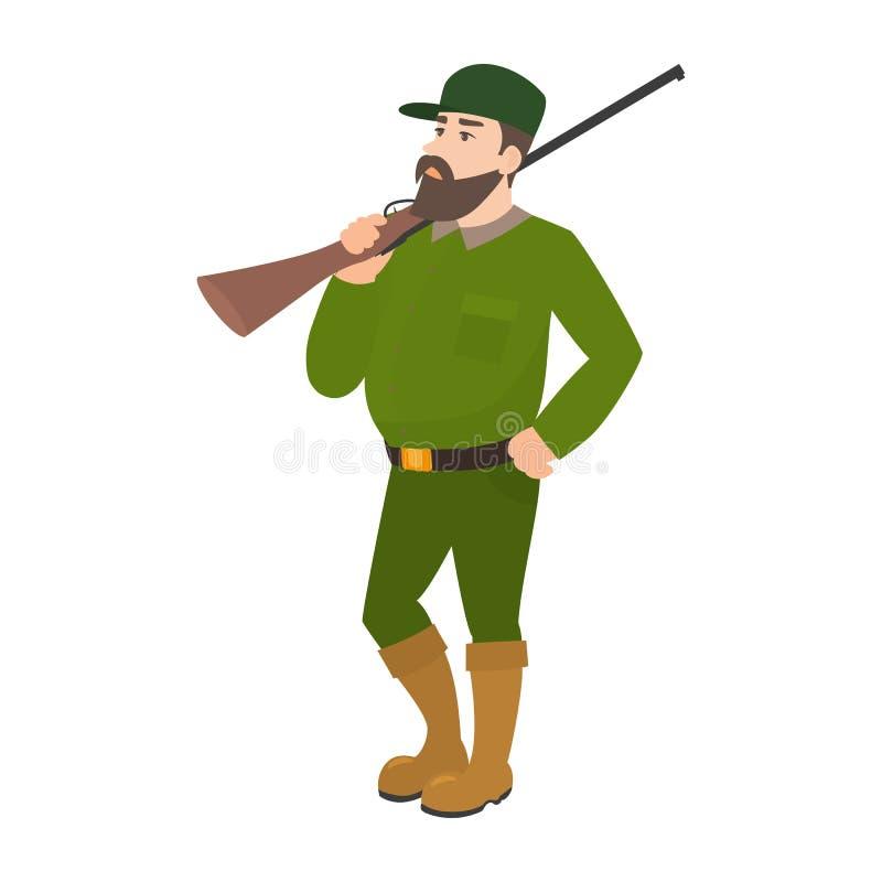Fucile di caccia dell'uniforme di verde di cacciatore del fumetto di vettore illustrazione di stock