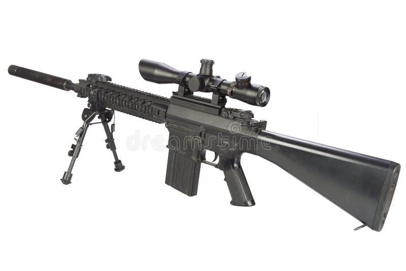 fucile di tiratore franco automatico dei semi con bipod ed il silenziatore immagini stock libere da diritti