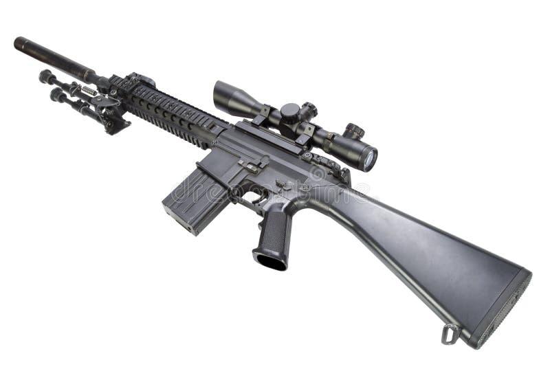 fucile di tiratore franco automatico dei semi con bipod ed il silenziatore immagine stock libera da diritti