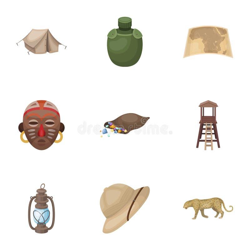 Fucile, maschera, mappa del territorio, diamanti ed altre attrezzature Icone stabilite della raccolta di safari africano nello st illustrazione vettoriale