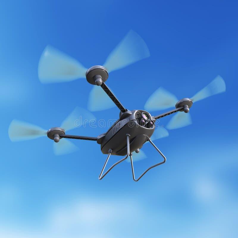 Fuco aereo del robot, quadrocopter, con il volo della macchina fotografica nel cielo blu Il multycopter librantesi di concetto re royalty illustrazione gratis