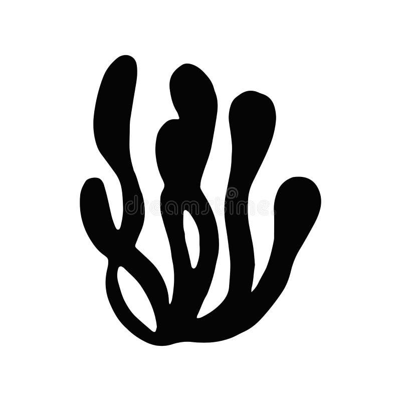 Fuco dell'alga Oggetto isolato siluetta della pianta di mare illustrazione vettoriale