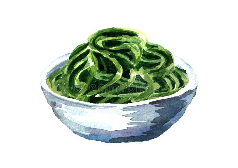 Fuco di Laminaria, alga Superfood Illustrazione disegnata a mano dell'acquerello isolata su fondo bianco royalty illustrazione gratis