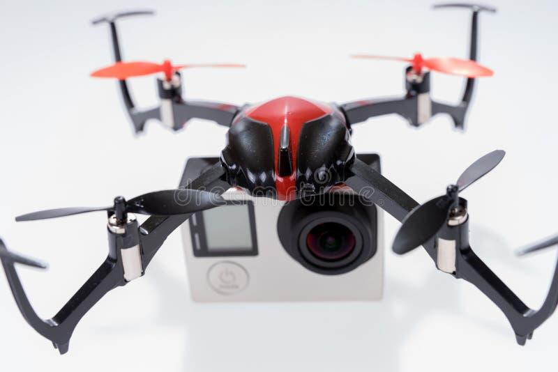 Fuco di Quadcopter con la macchina fotografica fotografia stock