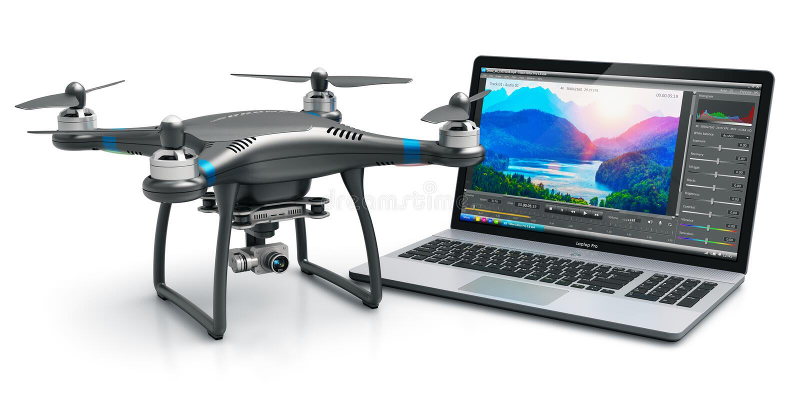 Fuco e computer portatile di Quadcopter con video software illustrazione di stock