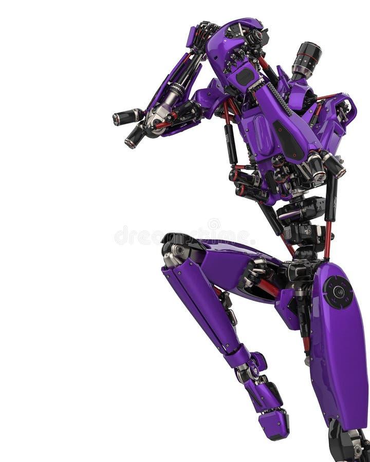 Fuco eccellente del robot porpora mega in un fondo bianco royalty illustrazione gratis