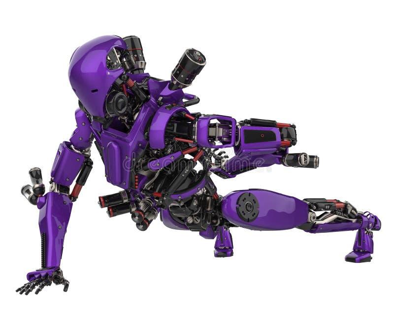 Fuco eccellente del robot porpora mega in un fondo bianco illustrazione di stock