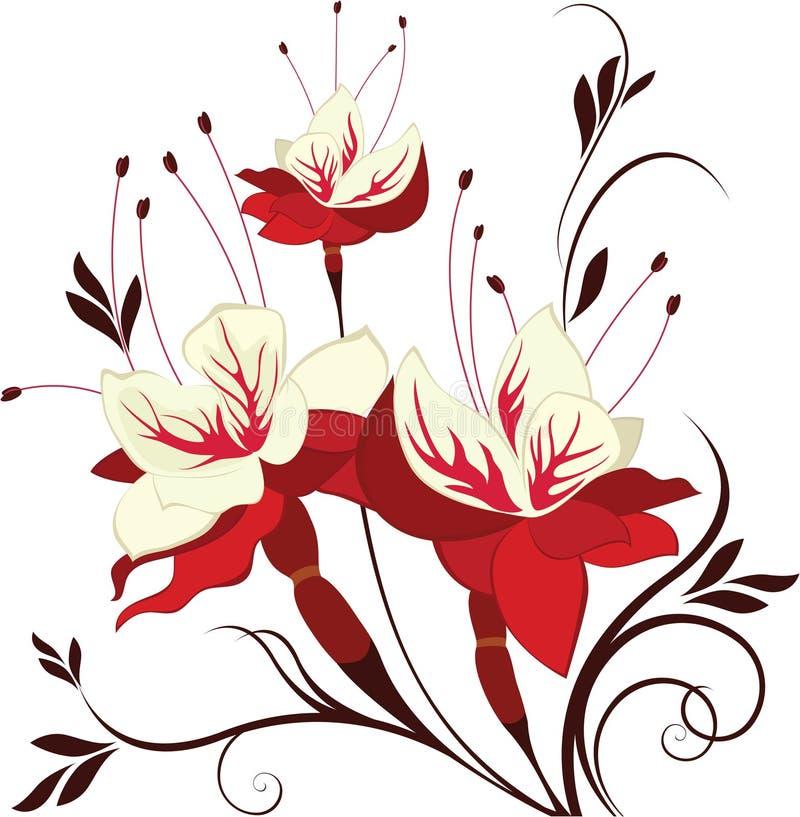 Fucsia de la flor del vector, ramo decorativo stock de ilustración