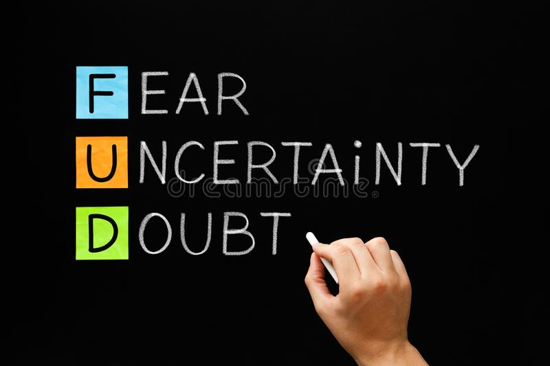 FUD - Fear Uncertainty And Doubt. Hand writing FUD - Fear Uncertainty And Doubt with white chalk on blackboard stock images