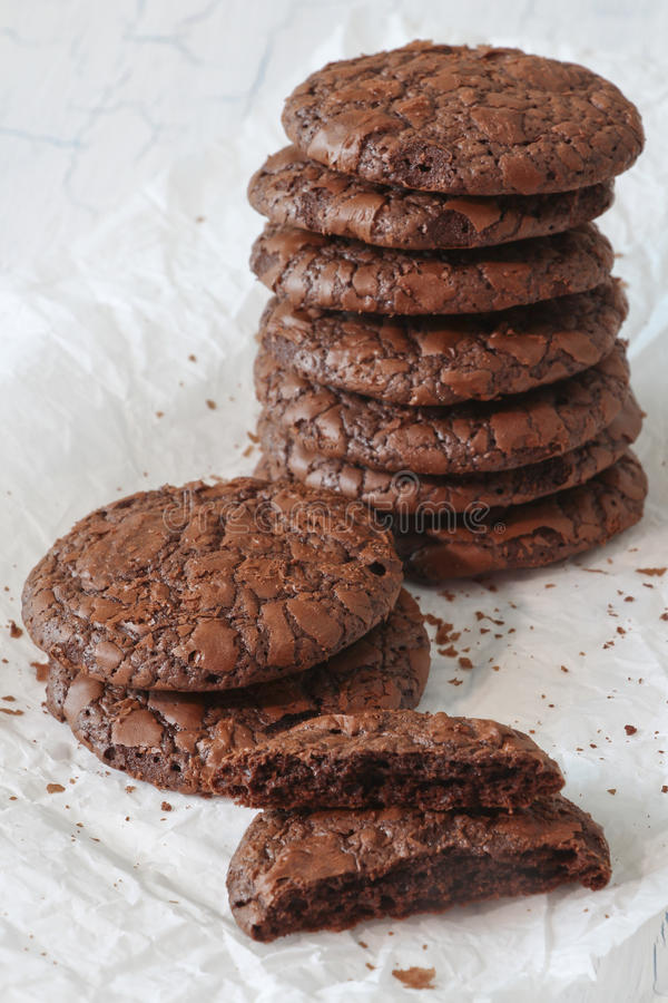 Free Fudge Brownie Cookies Stack On Parchment Stock Photography - 81393412