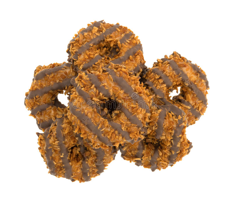 Fudge coconut caramel cookies on a white background stock photo