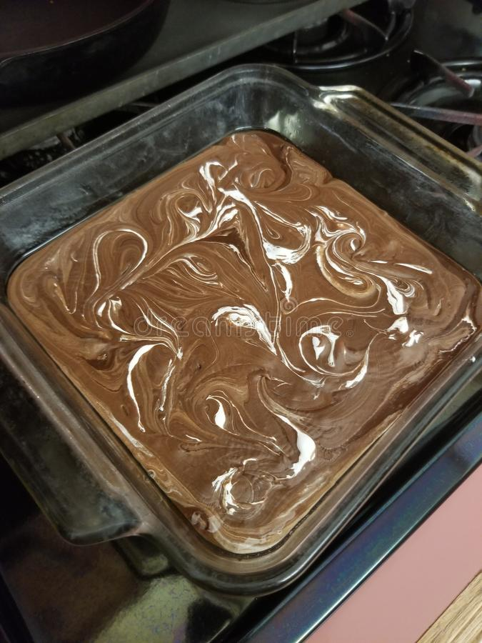 Fudge swirl marshmallow-chocolade stock foto