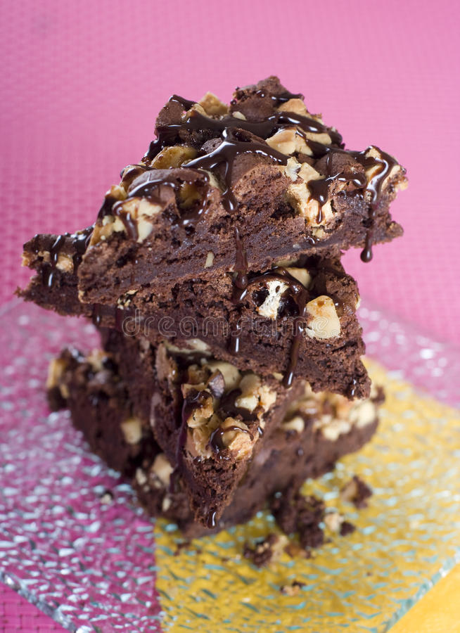 Fudgy and chocolaty brownies with nuts. royalty free stock photography