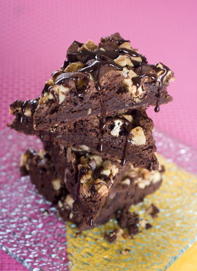 Fudgy i chocolaty punkty z dokrętkami fotografia royalty free