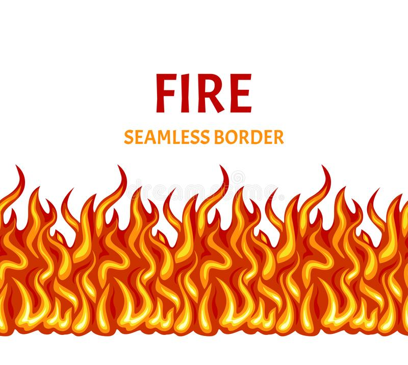 Fuego aislado en el fondo blanco Frontera inconsútil de la llama del vector libre illustration