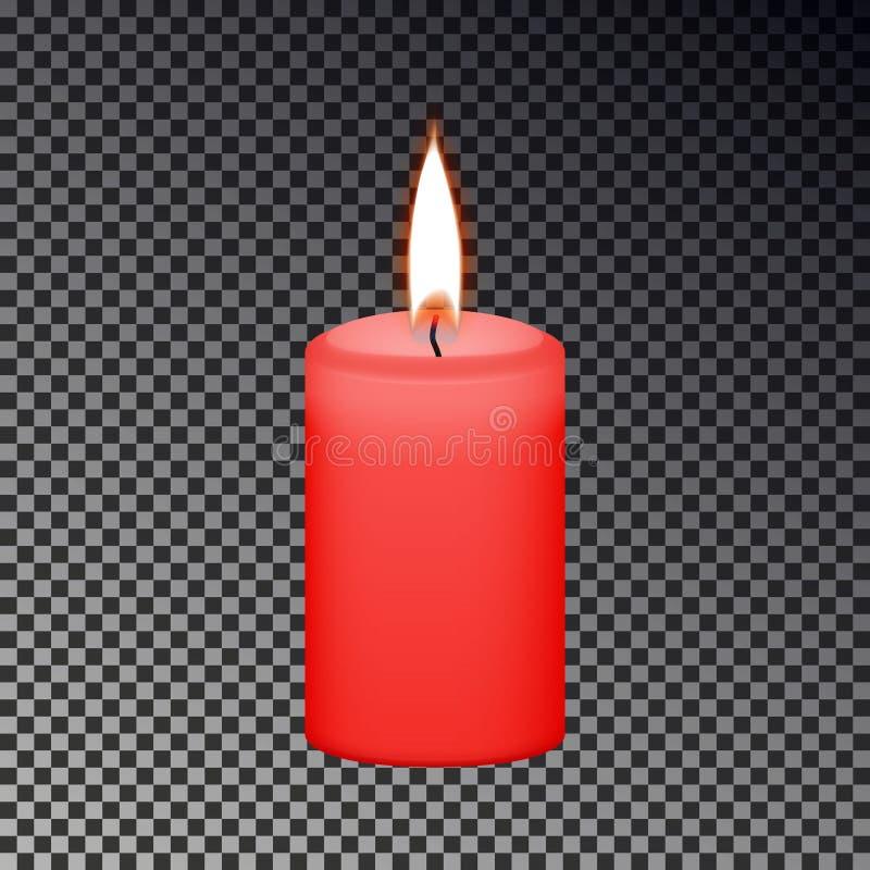 Fuego aislado en fondo a cuadros, fuego conmemorativo, muestra ligera de la llama de vela Cand amarillo realista stock de ilustración