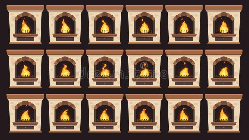 Fuego animado en chimenea Animación de las llamas en los marcos aislados chimeneas ardientes de madera caseras retras de la histo libre illustration