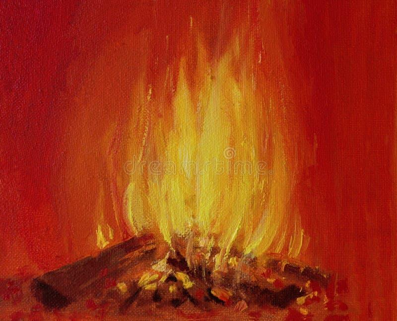 Fuego ardiente en una chimenea stock de ilustración