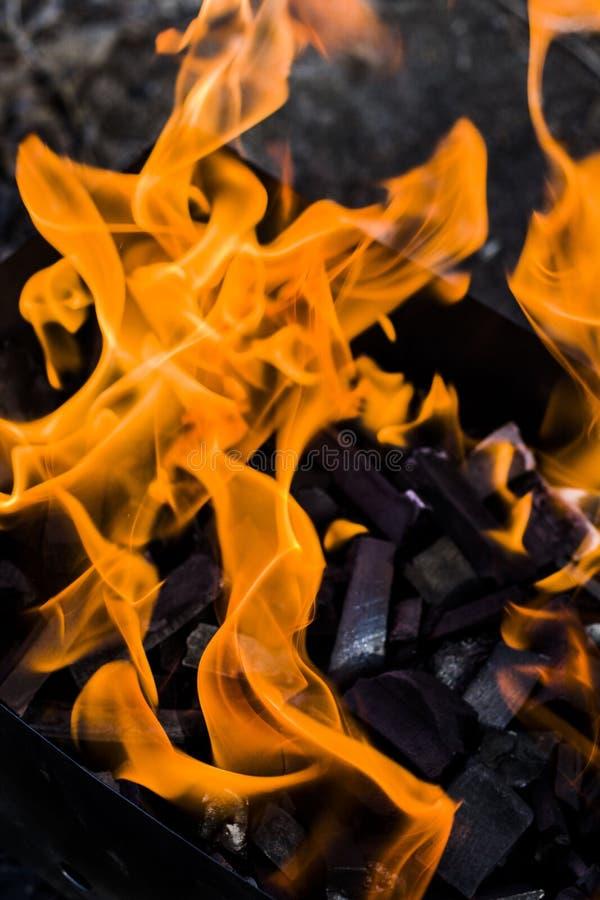 Fuego ardiente hermoso del primer en el brasero fotos de archivo libres de regalías