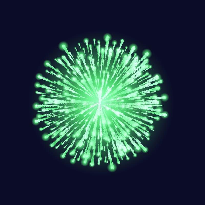 Fuego artificial aislado Fuego artificial verde hermoso en fondo oscuro del cielo Tarjeta de Navidad brillante de la decoración,  stock de ilustración