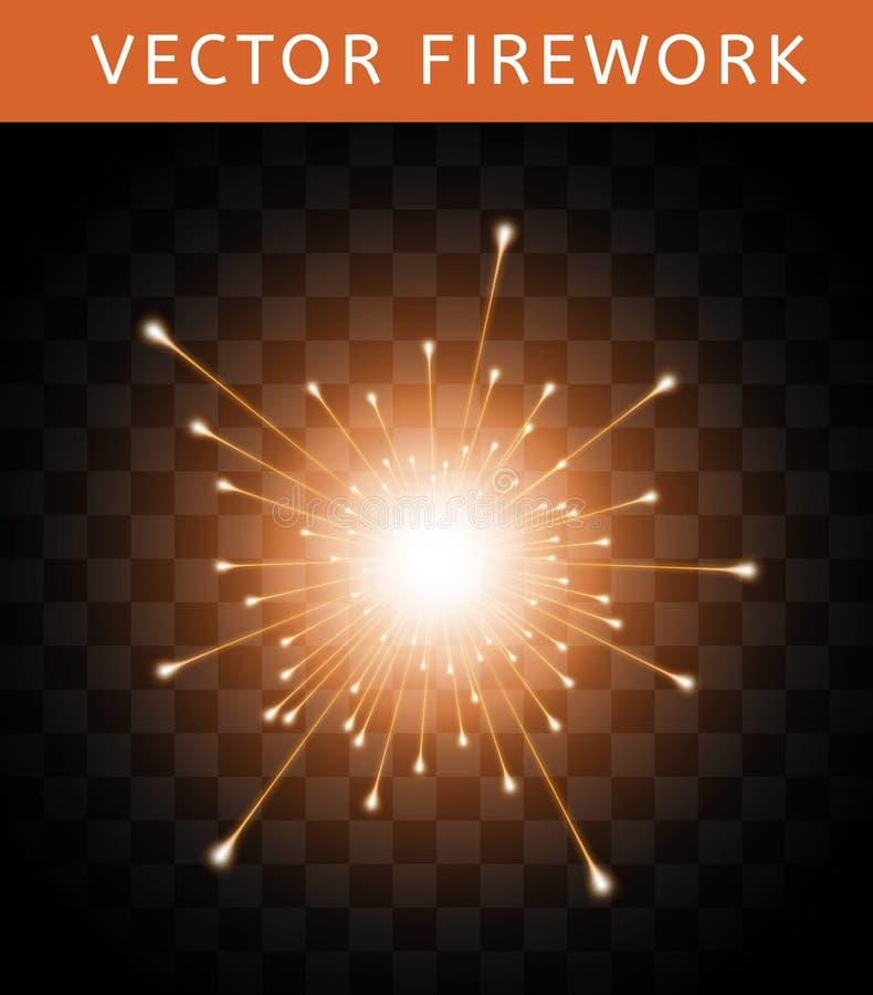 Fuego artificial anaranjado colorido brillante del vector ilustración del vector
