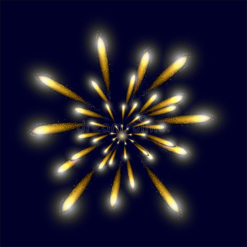 Fuego artificial brillante amarillo en el cielo imagenes de archivo
