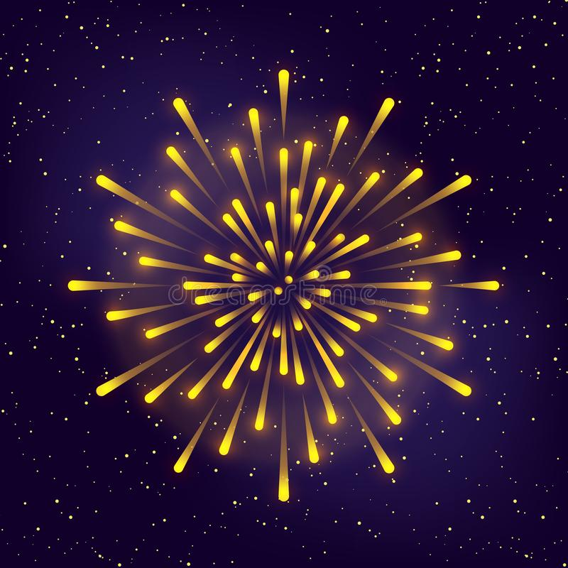 Fuego artificial brillante en fondo estrellado del cielo ilustración del vector