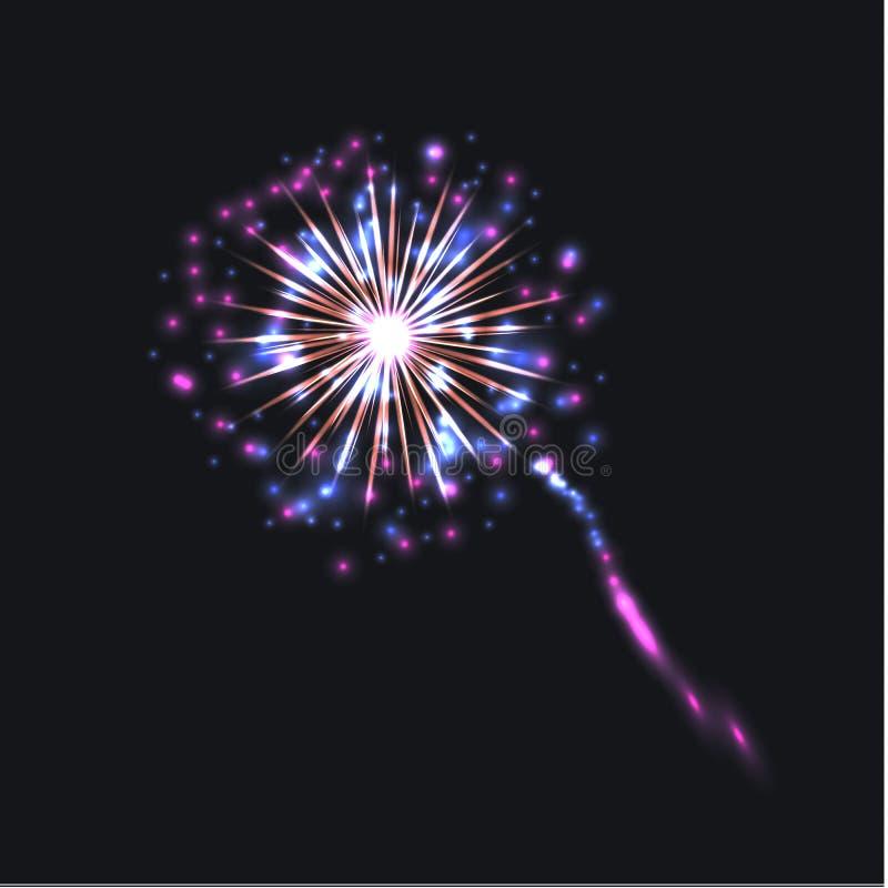 Fuego artificial colorido del vector, aislado en colores brillantes del fondo oscuro stock de ilustración