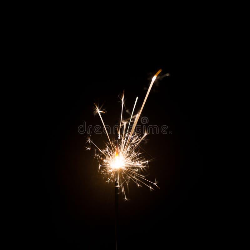Fuego artificial de la bengala en fondo negro Uso para la Navidad fotografía de archivo libre de regalías