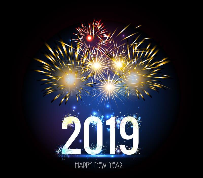 Fuego artificial 2019 de la Feliz Año Nuevo ilustración del vector