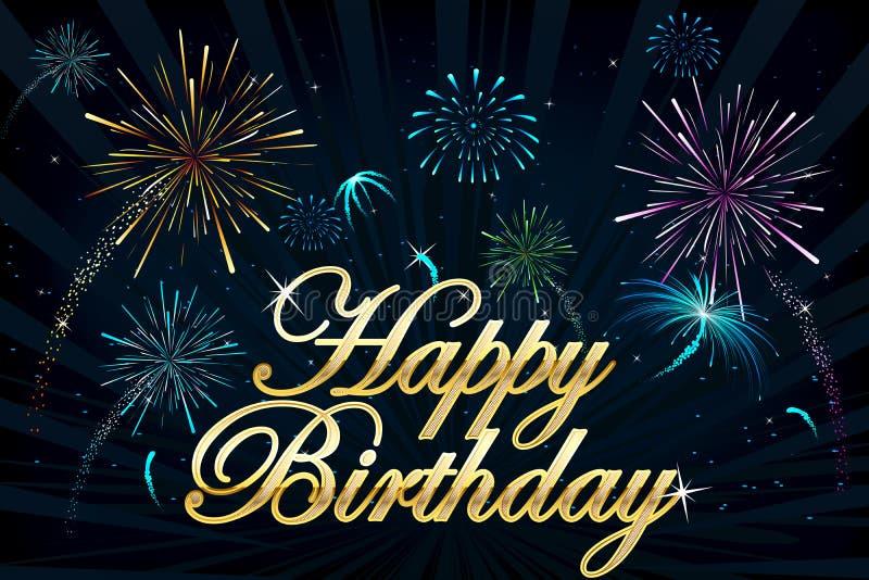 Fuego artificial del feliz cumpleaños stock de ilustración