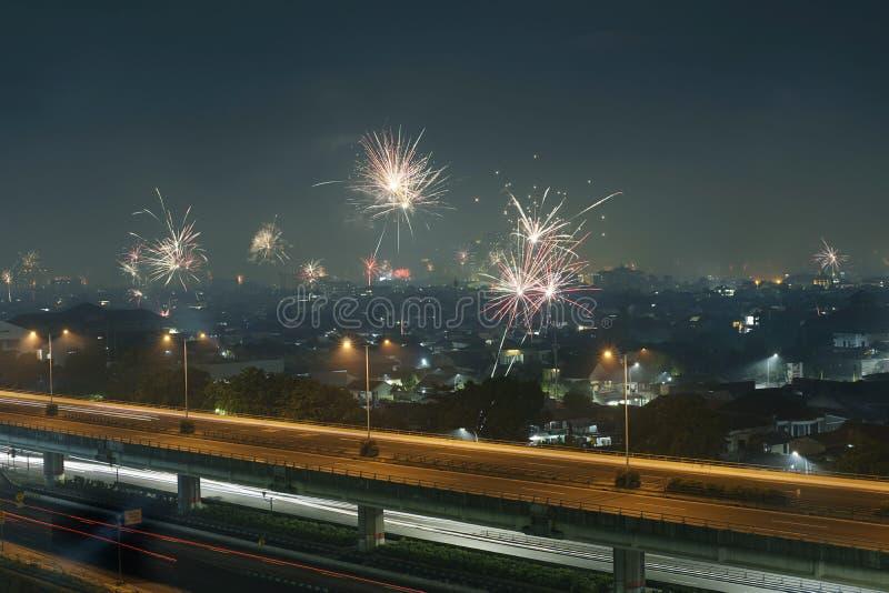 Fuego artificial en la ciudad de Jakarta foto de archivo libre de regalías