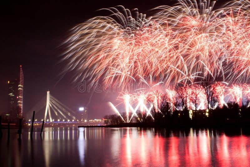 Fuego artificial en Riga imágenes de archivo libres de regalías