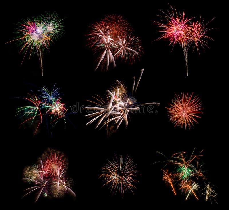 Fuego artificial hermoso fijado en fondo negro Imagen muy grande de la resolución imagen de archivo libre de regalías