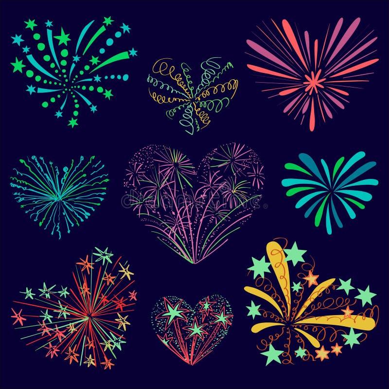 Fuego artificial modelado festivo en la forma de un corazón stock de ilustración