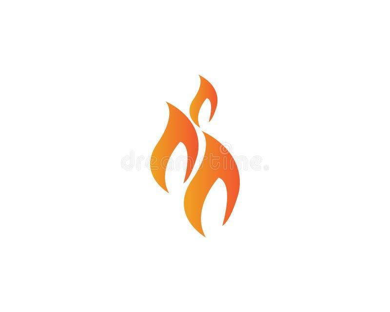 Fuego con el logotipo del flamme del mit de la llama y del feuer - vector stock de ilustración