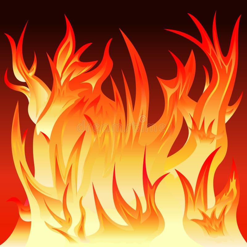 Fuego con las llamas rojas y amarillas ilustración del vector