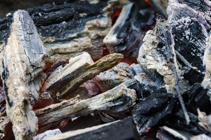 Fuego con le?a y carbones calientes imágenes de archivo libres de regalías