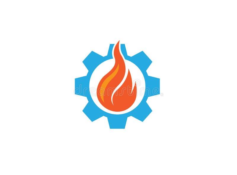 Fuego creativo en el símbolo del engranaje o piñón para el ejemplo del diseño del logotipo stock de ilustración