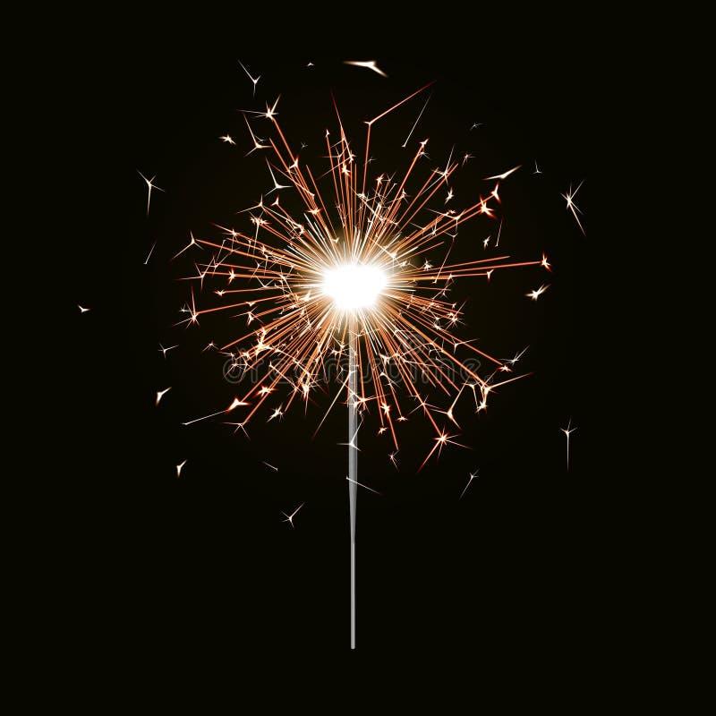 Fuego de Bengala Vela de la bengala del Año Nuevo aislada en fondo negro Efecto luminoso del vector realista P ilustración del vector