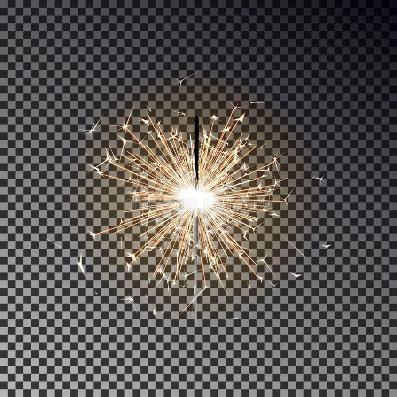 Fuego de Bengala Vela de la bengala del Año Nuevo aislada en fondo transparente EFF realista de la luz del vector libre illustration