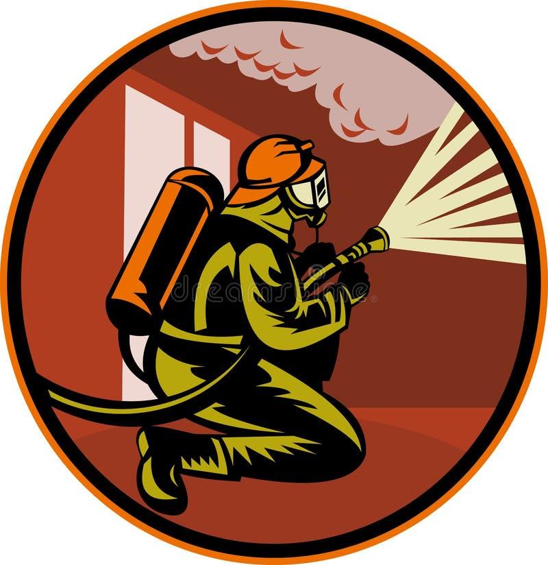Fuego de la lucha del bombero del bombero stock de ilustración