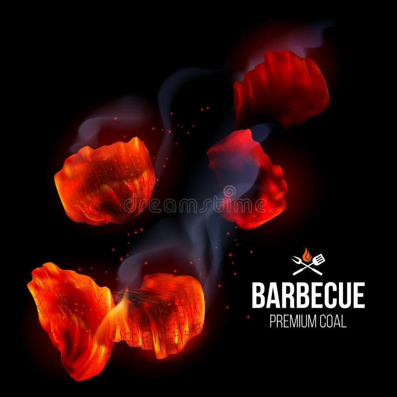 Fuego de la parrilla del Bbq stock de ilustración