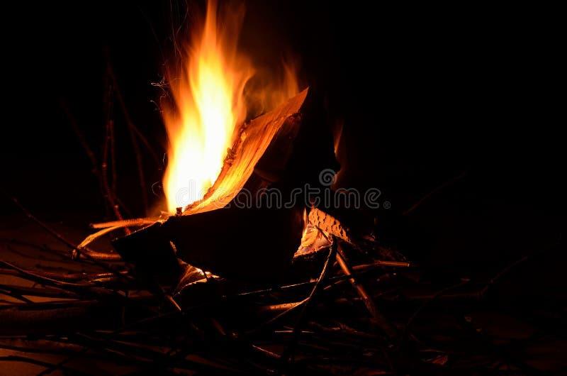 Fuego de registro ardiente brillante del abedul en naturaleza nevosa del invierno imagenes de archivo