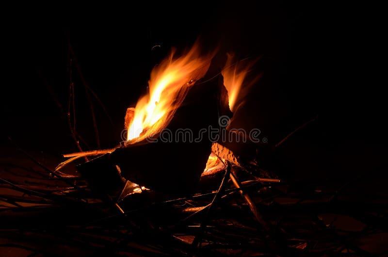Fuego de registro ardiente brillante del abedul en naturaleza nevosa del invierno en la noche imagen de archivo