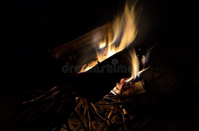 Fuego de registro ardiente del abedul en naturaleza del invierno imagen de archivo