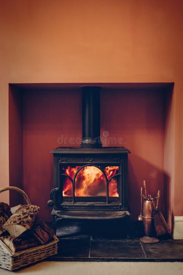 Fuego de registro del rugido fotografía de archivo libre de regalías