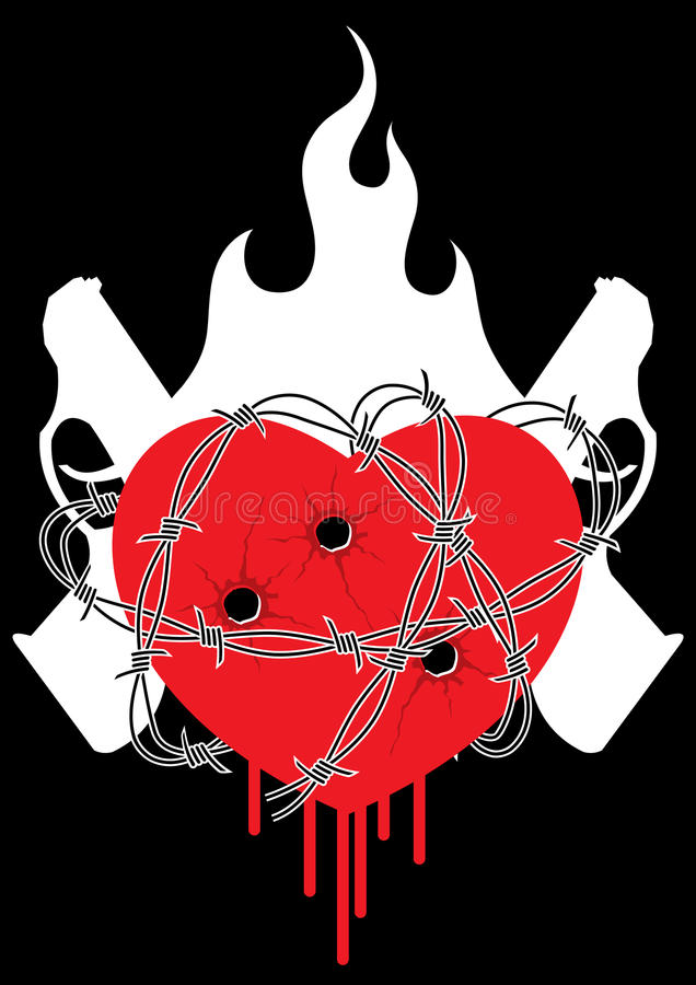 Fuego del barbwire del arma del corazón stock de ilustración